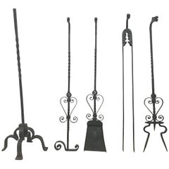 Set of Four Arts & Crafts Hand-Forged Iron Fire Utensils on a Matching Stand