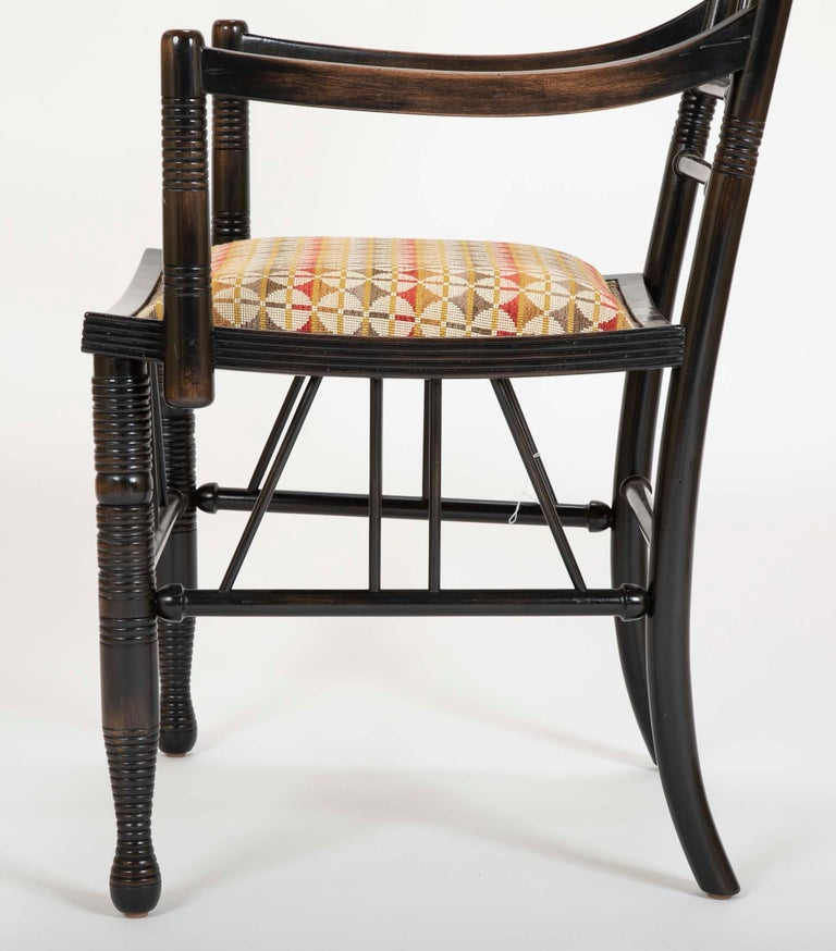 Set of Four Arts & Crafts Style Chairs In The Manner of E. W. Godwin For Sale 3