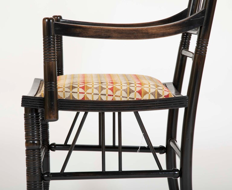 Set of Four Arts & Crafts Style Chairs In The Manner of E. W. Godwin For Sale 4