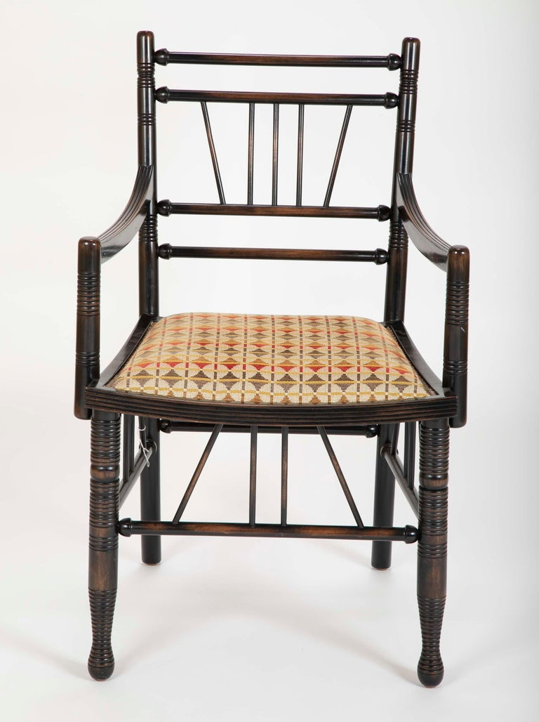 Arts and Crafts Set of Four Arts & Crafts Style Chairs In The Manner of E. W. Godwin For Sale