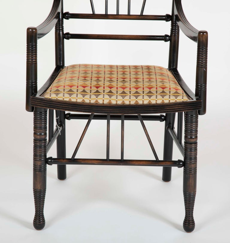 English Set of Four Arts & Crafts Style Chairs In The Manner of E. W. Godwin For Sale