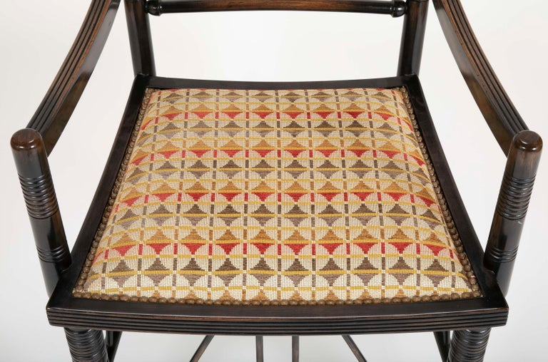 Wood Set of Four Arts & Crafts Style Chairs In The Manner of E. W. Godwin For Sale