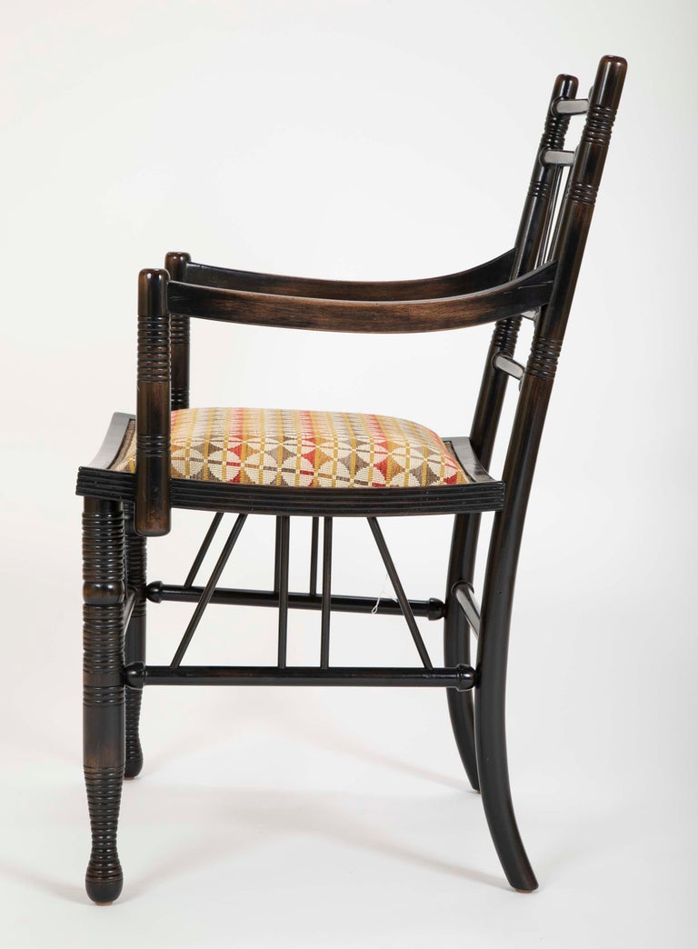 Set of Four Arts & Crafts Style Chairs In The Manner of E. W. Godwin For Sale 2