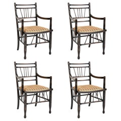 Set of Four Arts & Crafts Style Chairs In The Manner of E. W. Godwin