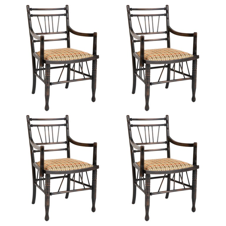 Set of Four Arts & Crafts Style Chairs In The Manner of E. W. Godwin For Sale