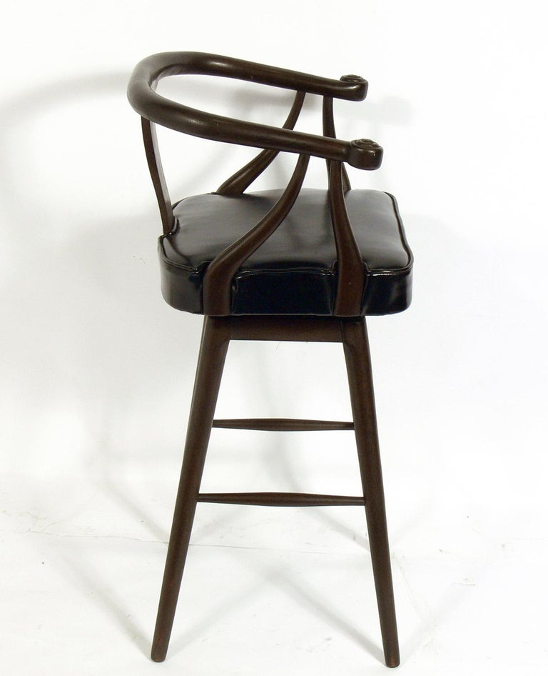 American Set of Four Asian Style Midcentury Bar Stools For Sale