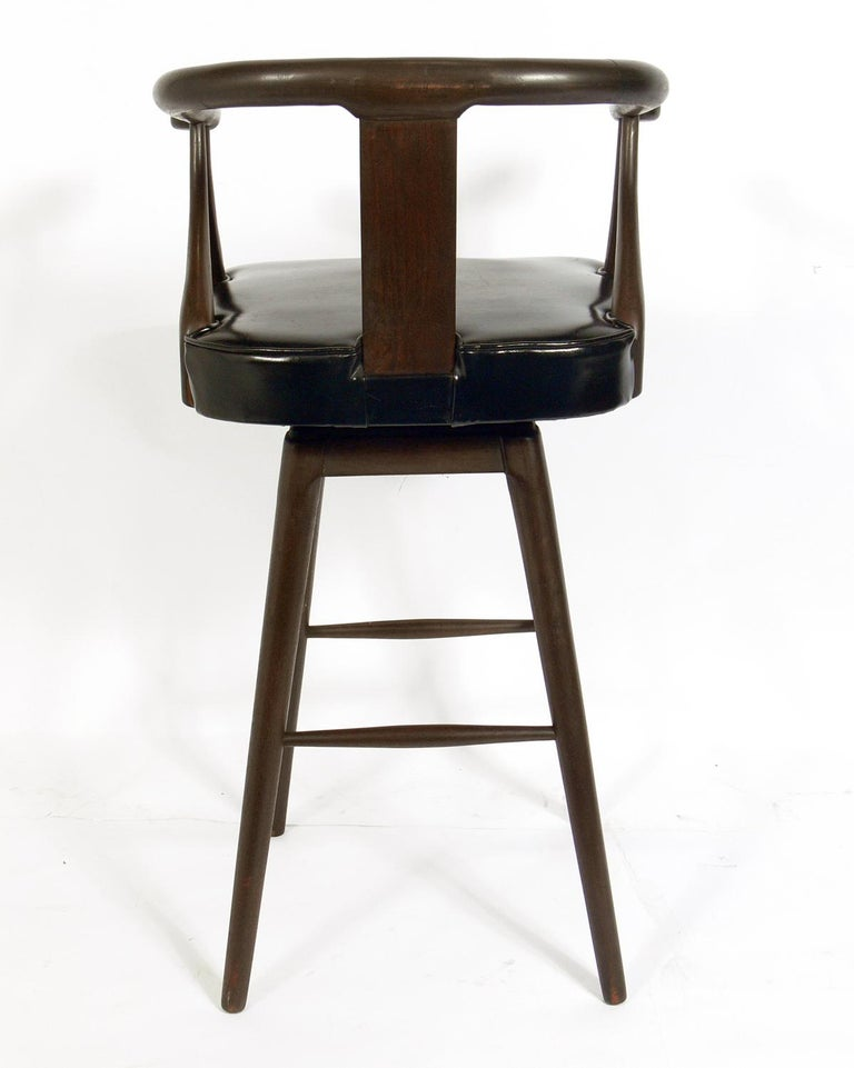 Set of Four Asian Style Midcentury Bar Stools In Good Condition For Sale In Atlanta, GA