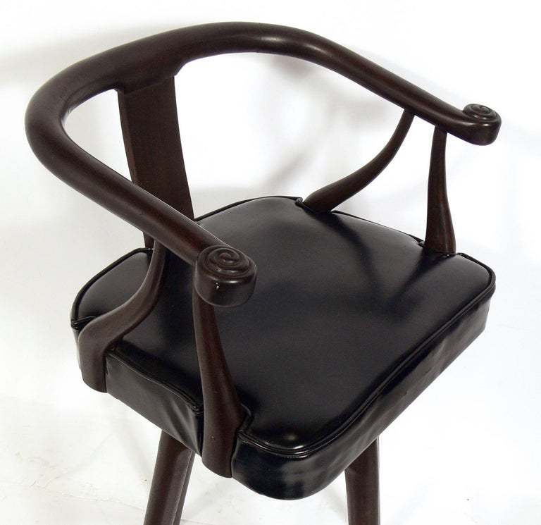 Upholstery Set of Four Asian Style Midcentury Bar Stools For Sale