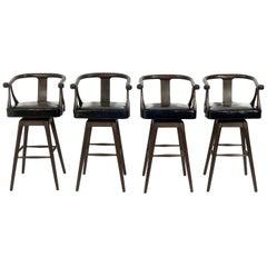 Set of Four Asian Style Midcentury Bar Stools