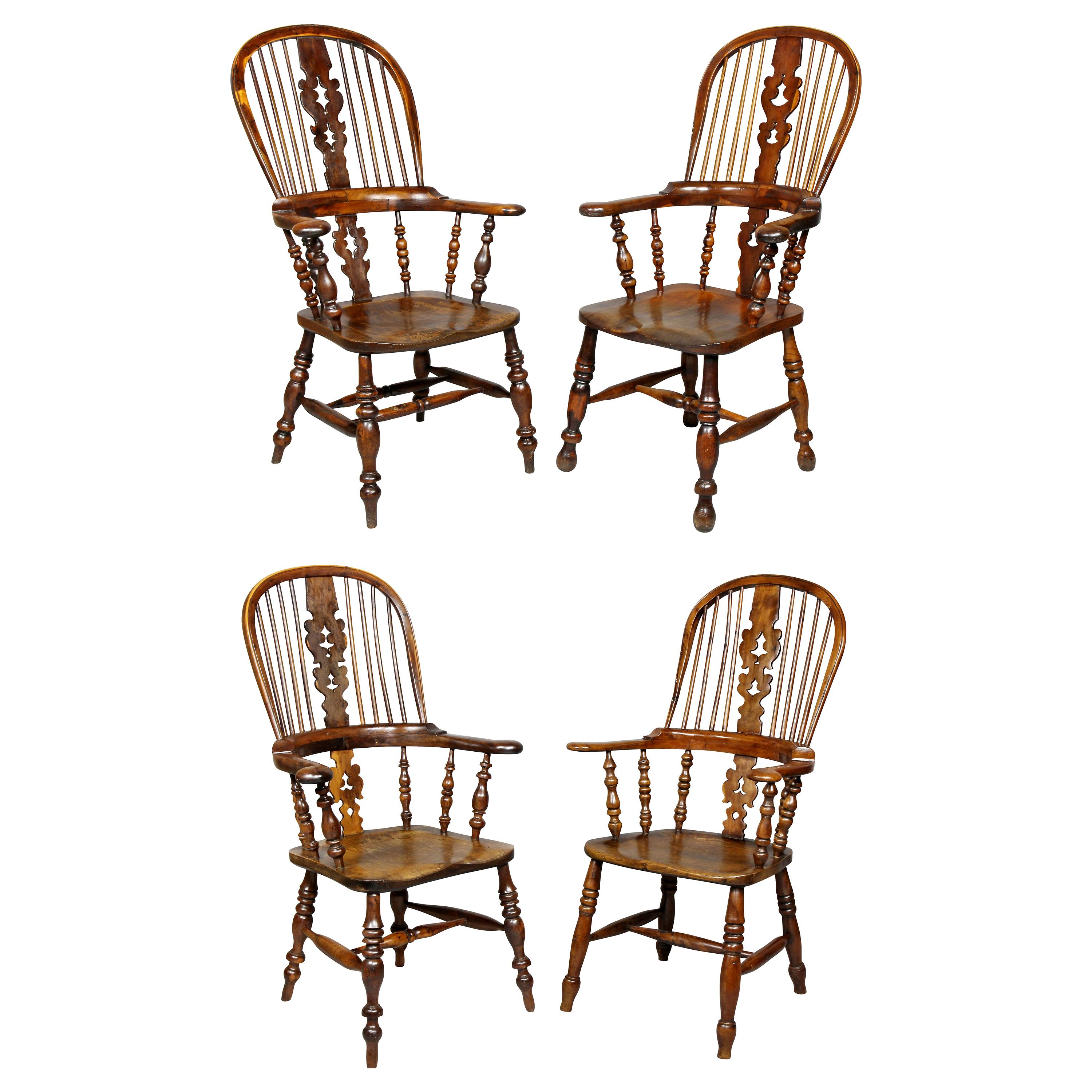 Set of Four Assembled Regency Yewwood Windsor Armchairs
