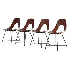 """Set of Four Augusto Bozzi """"Ariston Chairs"""" by Saporiti, 1950s, Italian"""