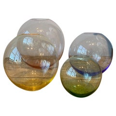 Set of Four Austrian Colored Crystal Vases