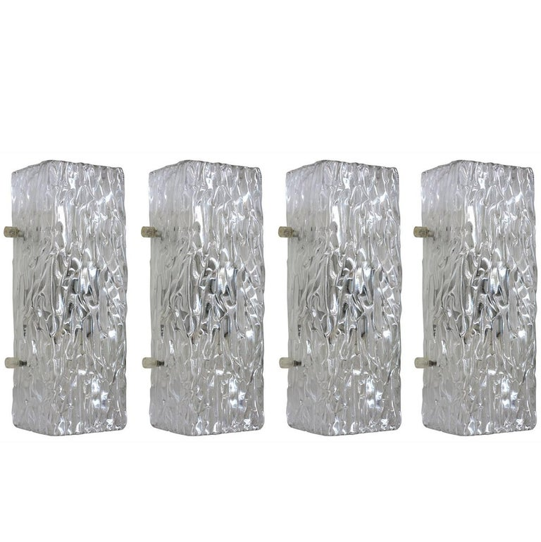 Set of Four Austrian Textured Ice Glass Wall Lights Sconces by Kalmar, 1960s