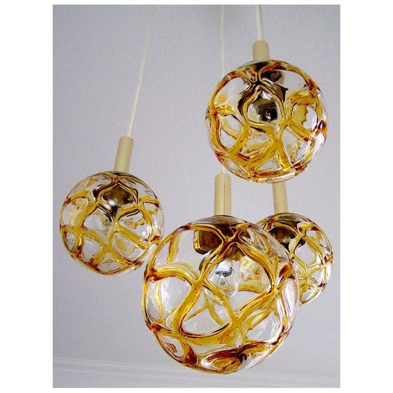 German Set of Four Austrian Vintage Blown Glass Globes Ceiling Hanging Lights, 1960s For Sale