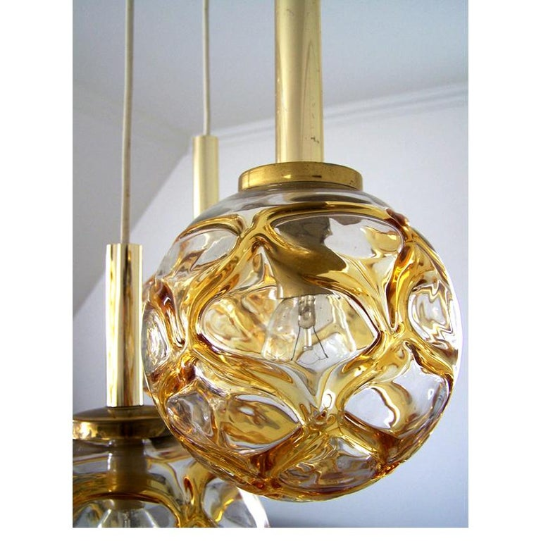 Set of Four Austrian Vintage Blown Glass Globes Ceiling Hanging Lights, 1960s In Good Condition For Sale In Berlin, DE