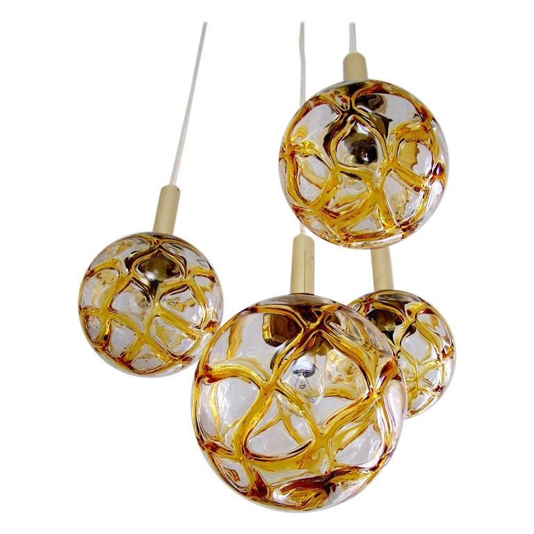 Set of Four Austrian Vintage Blown Glass Globes Ceiling Hanging Lights, 1960s For Sale