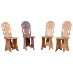 Set of Four Avantgarde Art Deco Chairs, France 1930s