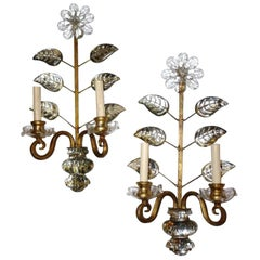 Set of Four Bagues-Style Sconces Crystal Leaves and Flowers, Sold Per Pair