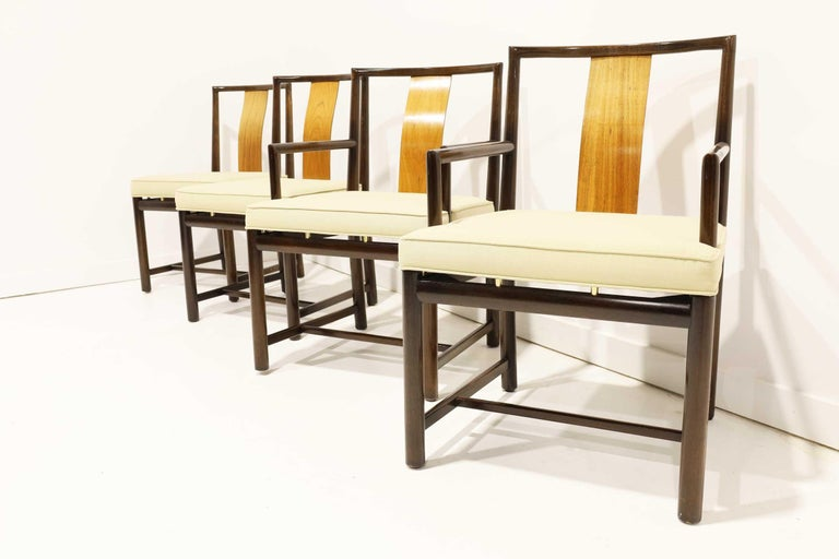 Mahogany frames with walnut slats and brass mounts. Arm chairs are 32.5