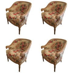 Set of Four Baker Hollywood Regency Armchairs Upholstered in Chintz, Very Chic