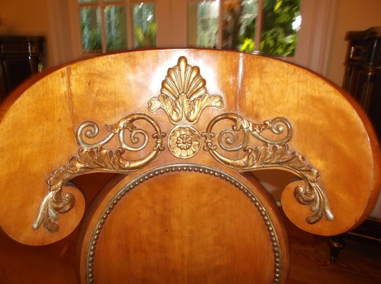 Carved Set of Four Baltic Empire Chairs For Sale