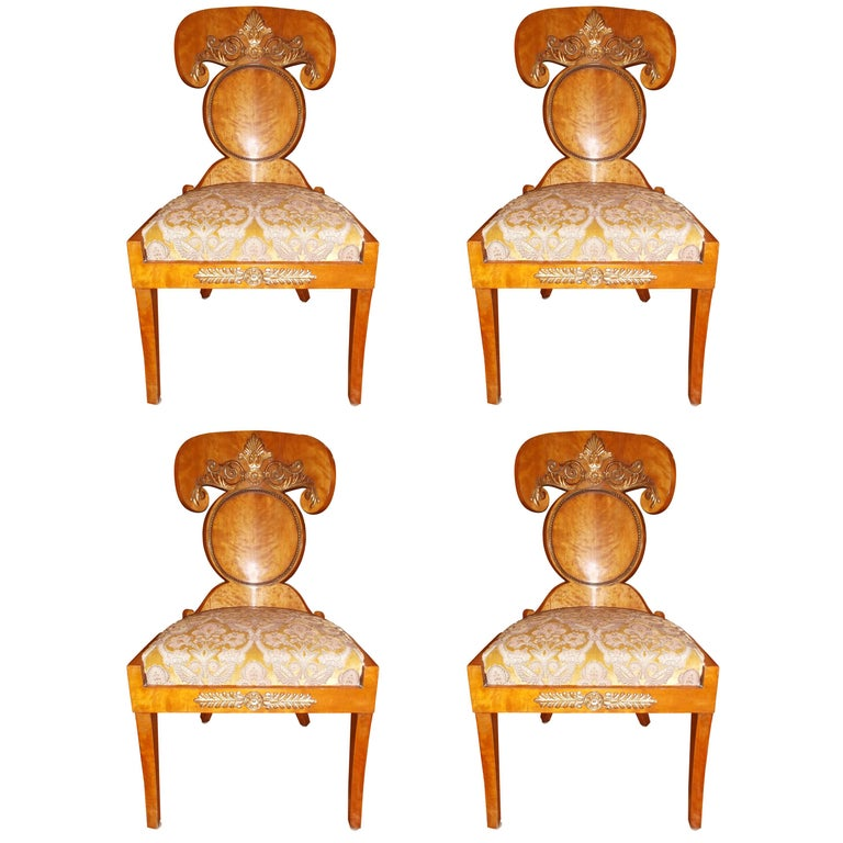 Set of Four Baltic Empire Chairs For Sale