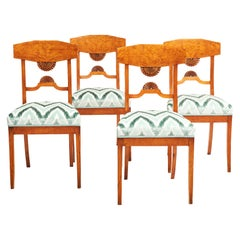 Set of Four Baltic Empire Karelian Flame Birch Dining Chairs
