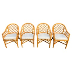 Set of Four Bamboo Chairs in the Style of of McGuire