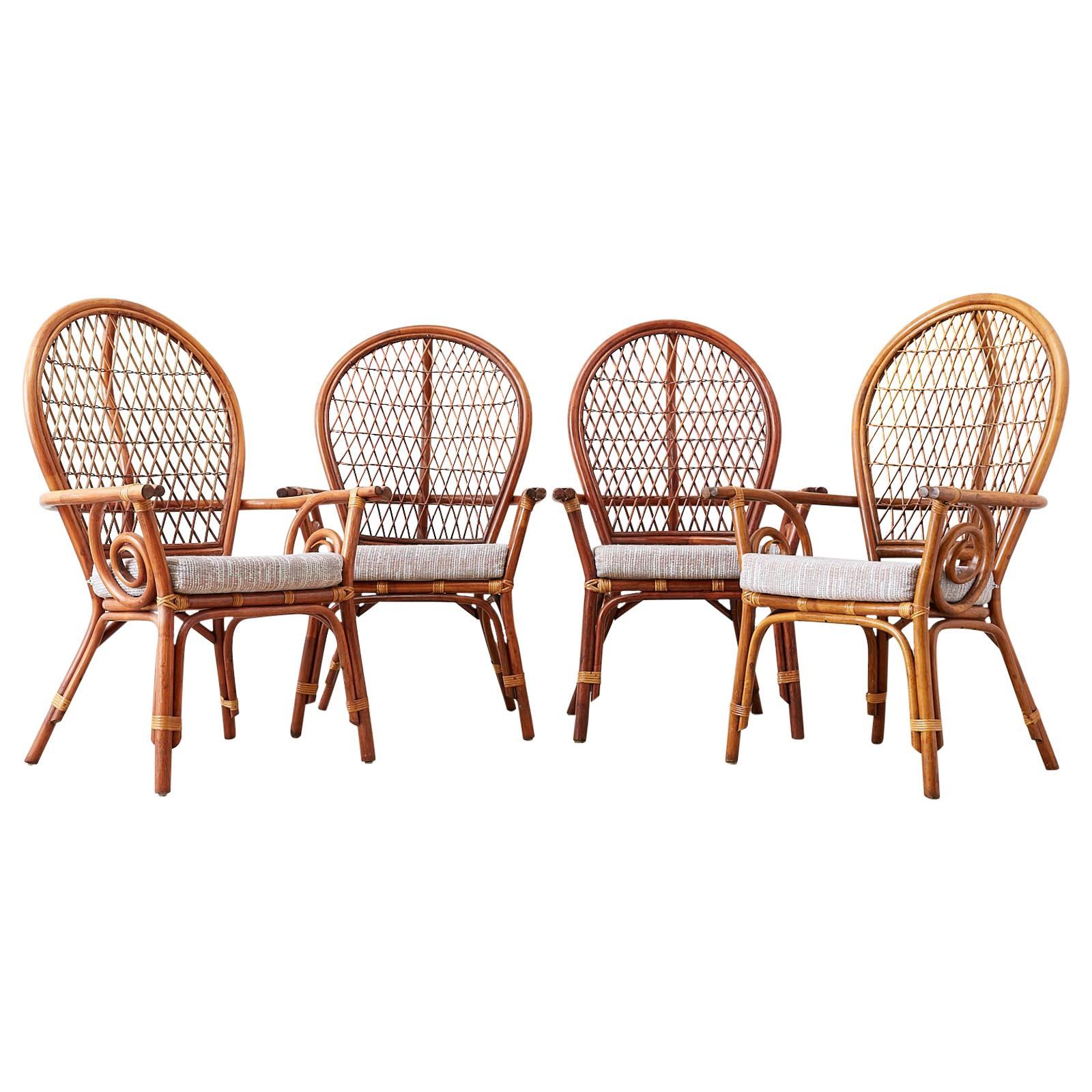 Set of Four Bamboo Rattan Peacock Dining Armchairs