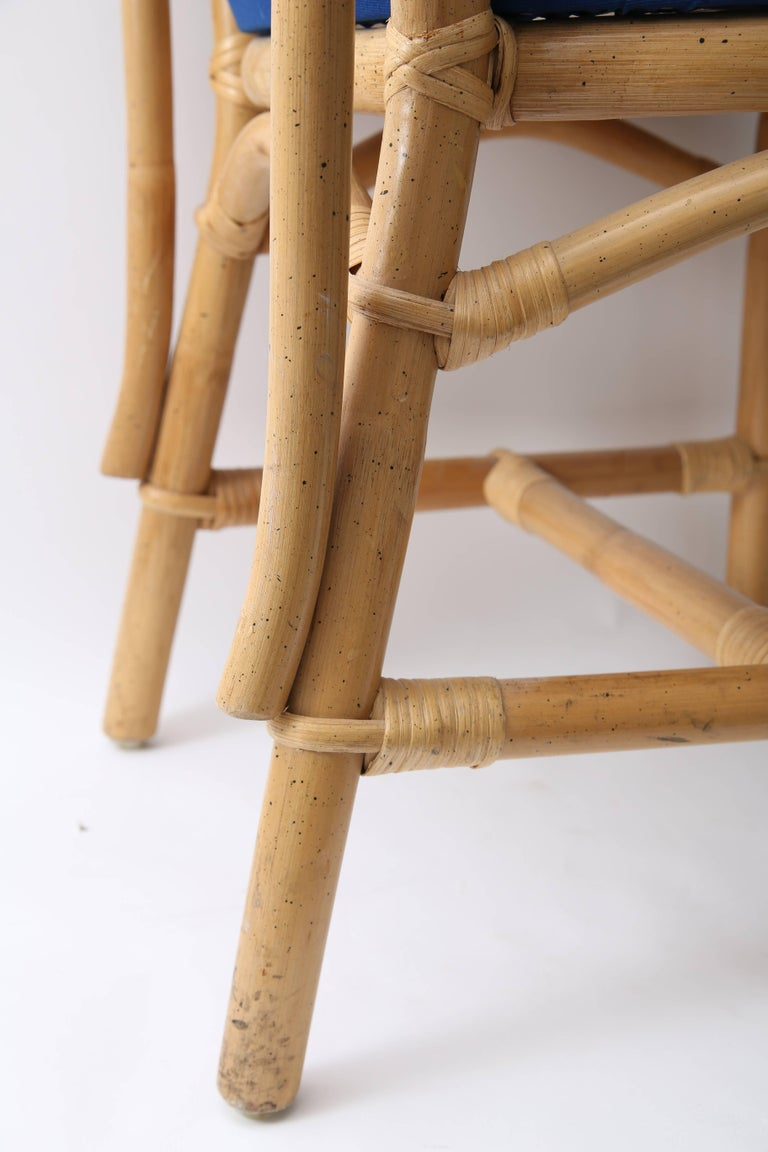 Set of Four Bamboo Side Chairs For Sale 4