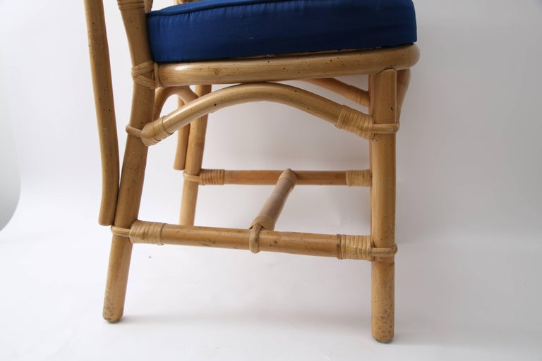 Set of Four Bamboo Side Chairs For Sale 5