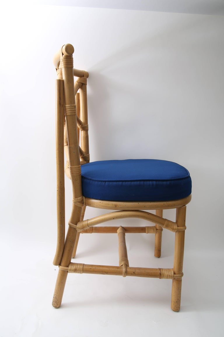 American Set of Four Bamboo Side Chairs For Sale