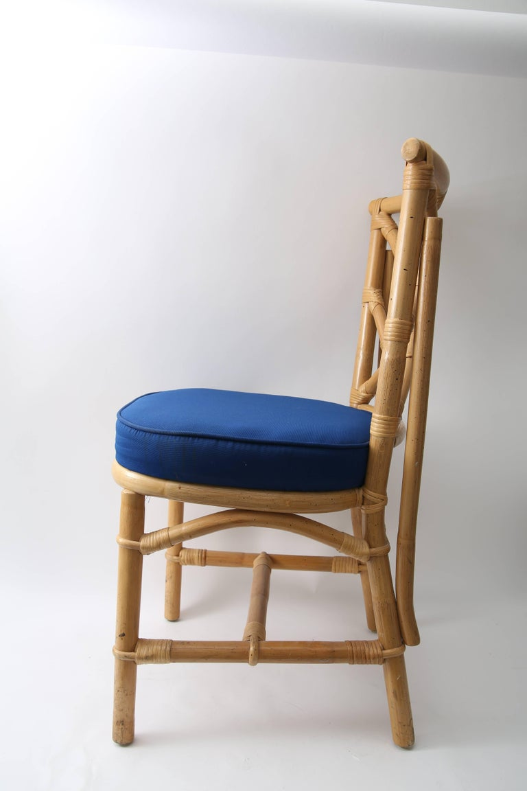 Set of Four Bamboo Side Chairs In Good Condition For Sale In West Palm Beach, FL