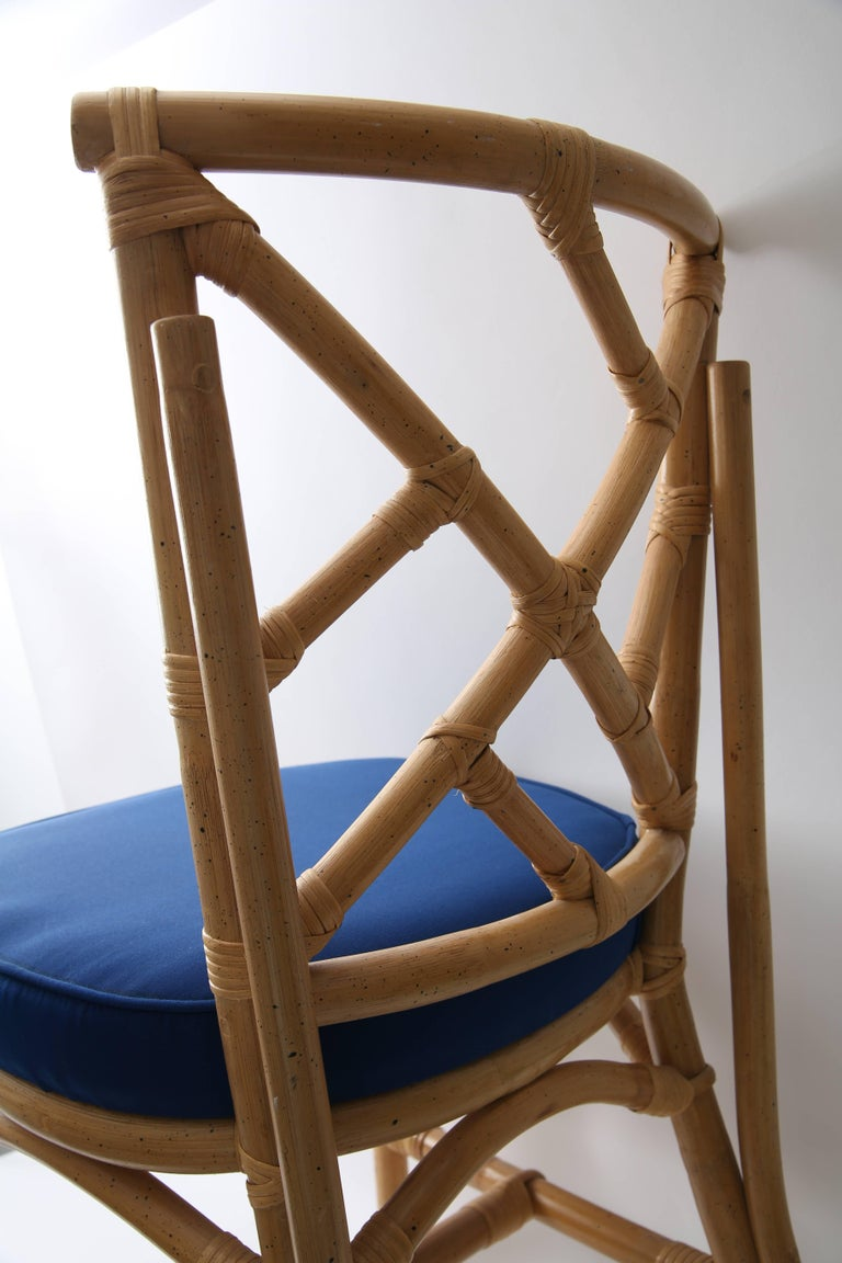 20th Century Set of Four Bamboo Side Chairs For Sale