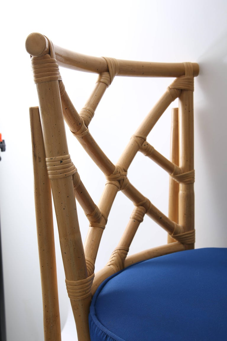 Set of Four Bamboo Side Chairs For Sale 2