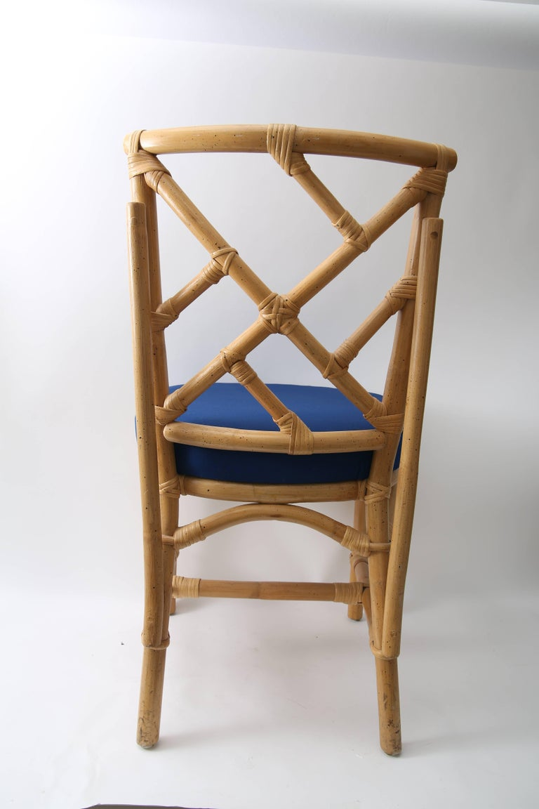 Set of Four Bamboo Side Chairs For Sale 3