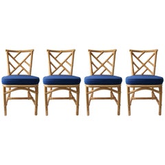 Set of Four Bamboo Side Chairs