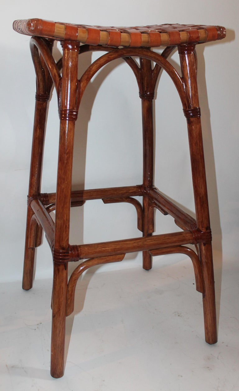 Set of Four Bamboo Stools For Sale 3