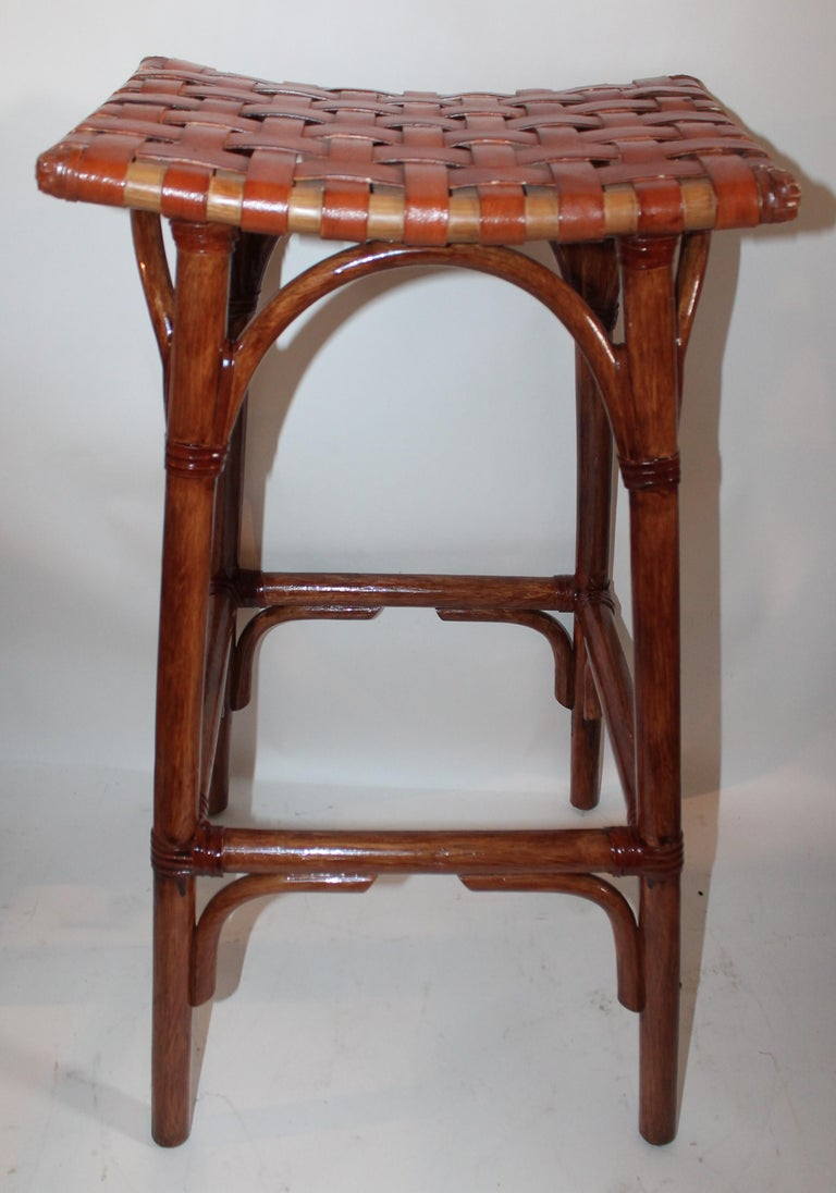 Set of Four Bamboo Stools For Sale 4
