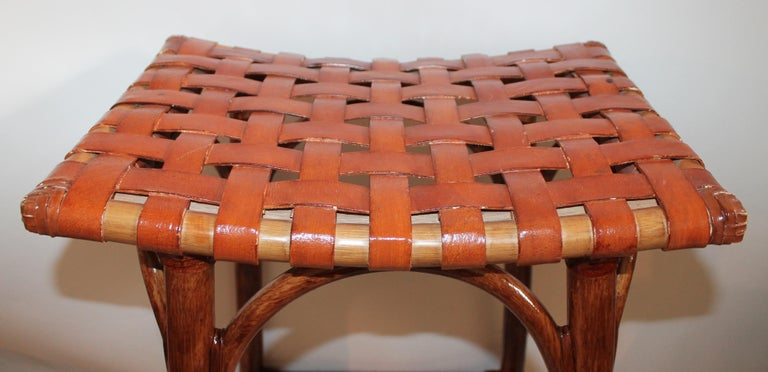 Set of Four Bamboo Stools For Sale 7