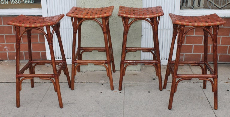 Mid-Century Modern Set of Four Bamboo Stools For Sale