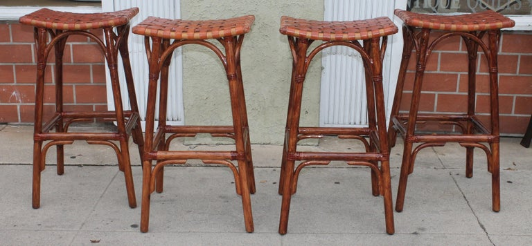 American Set of Four Bamboo Stools For Sale