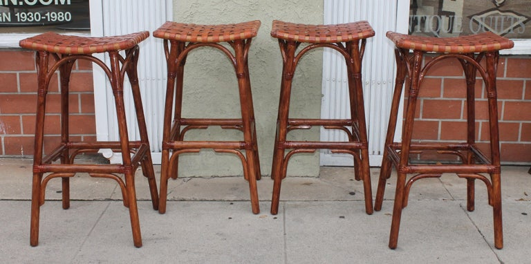 Hand-Woven Set of Four Bamboo Stools For Sale