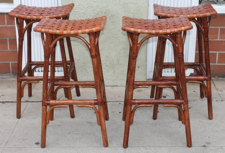 Set of Four Bamboo Stools In Good Condition For Sale In Los Angeles, CA