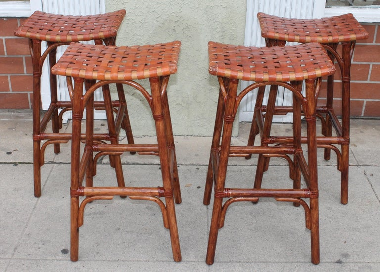 20th Century Set of Four Bamboo Stools For Sale