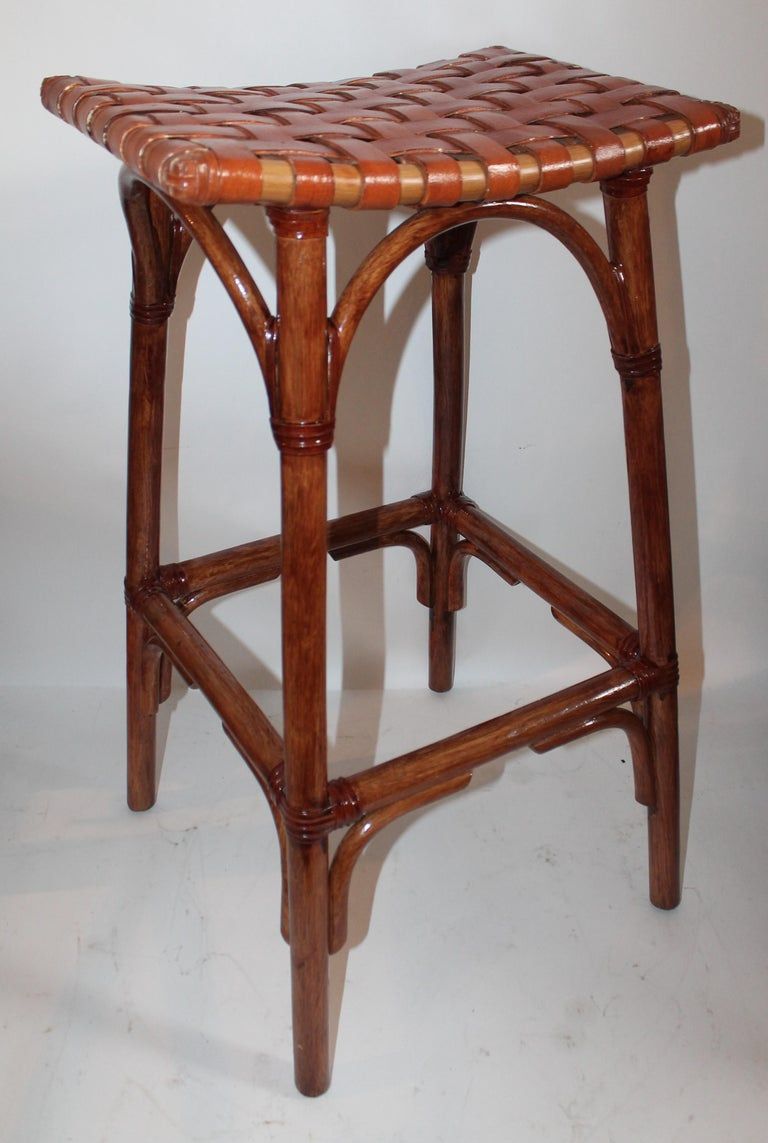 Set of Four Bamboo Stools For Sale 1