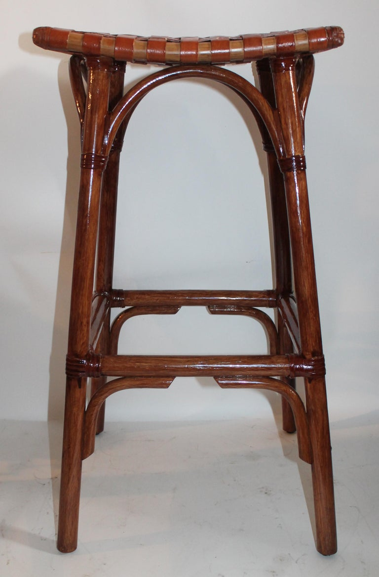 Set of Four Bamboo Stools For Sale 2