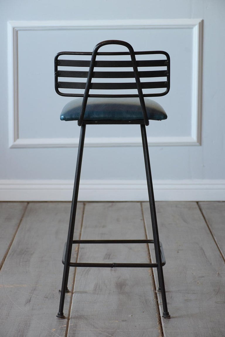 Set of Leather Bar Stools For Sale 3