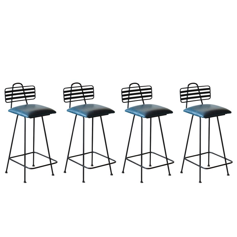 Mid-Century Modern Set of Leather Bar Stools For Sale