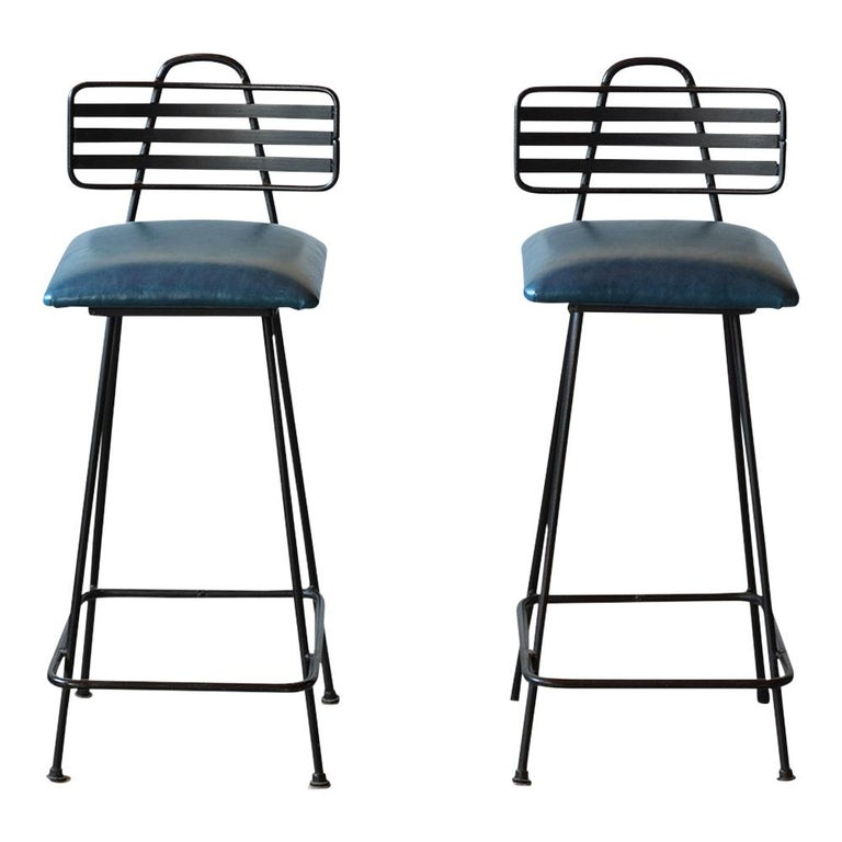American Set of Leather Bar Stools For Sale